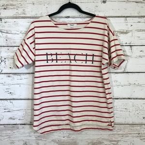 Madewell Red Striped Beach Graphic Top